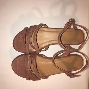 Mauve strappy platform sandals - Bamboo